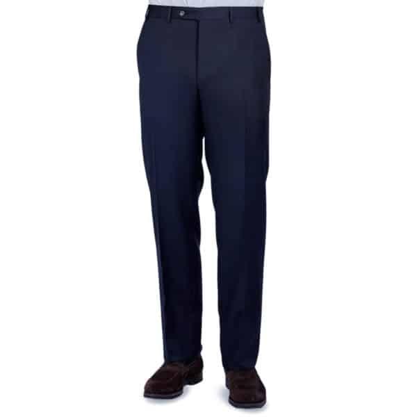 Canali silk linen navy trouser front1