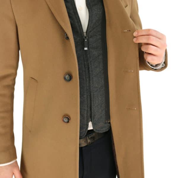 Carl Gross camel overcoat detail