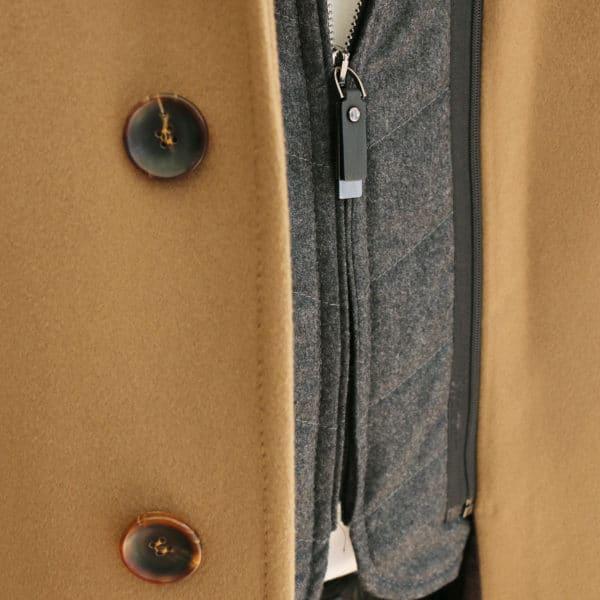 Carl Gross camel overcoat zip detail