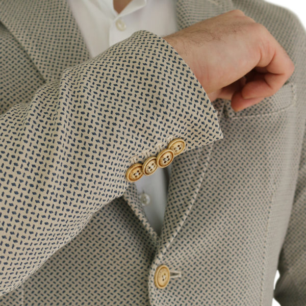 Circolo beige small pattern jersey jacket buttons