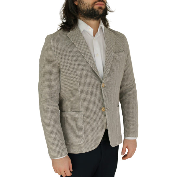 Circolo beige small pattern jersey jacket side