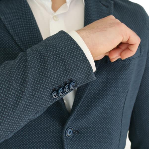 Circolo navy small pattern jersey jacket buttons