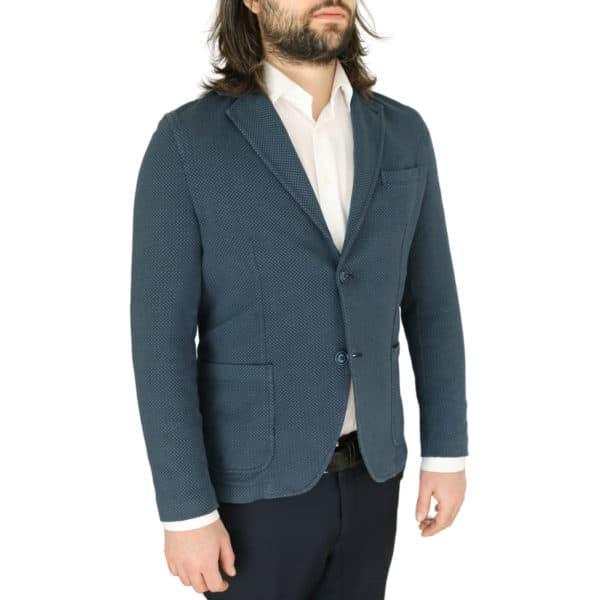 Circolo navy small pattern jersey jacket side