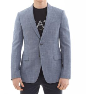 EMPORIO ARMANI straw weave Jacket in Blue front