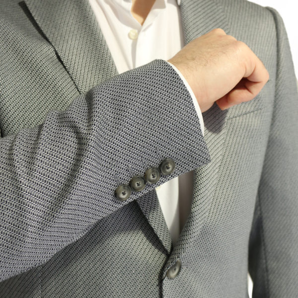 Emporio Armani grey textured blazer jacket buttons