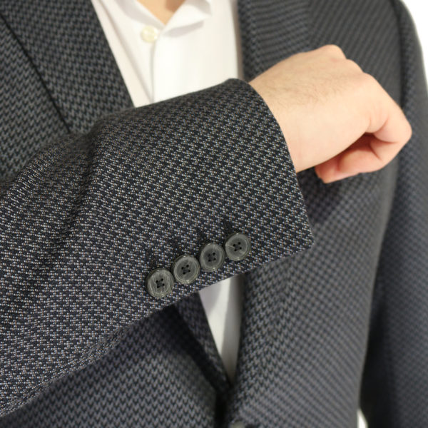Emporio Armani jacket grey with black zig zag pattern button detail