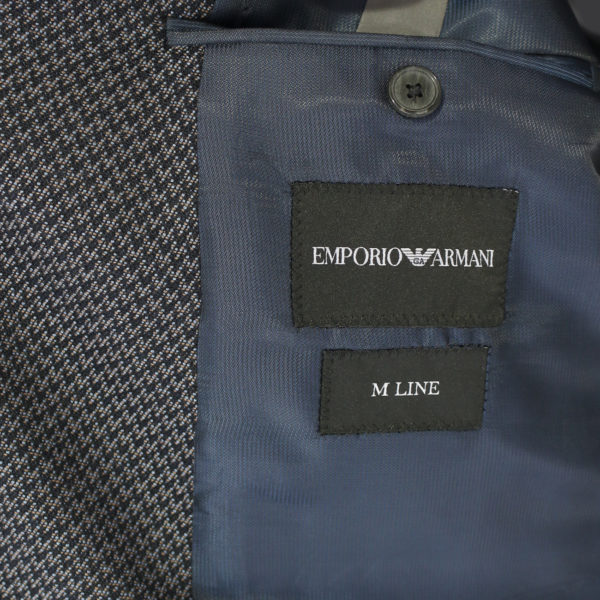 Emporio Armani jacket grey with black zig zag pattern lining detail