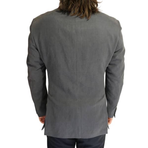 Emporio Armani linen blend jacket charcoal back