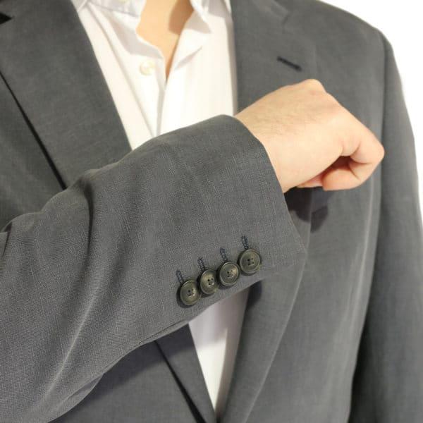 Emporio Armani linen blend jacket charcoal buttons