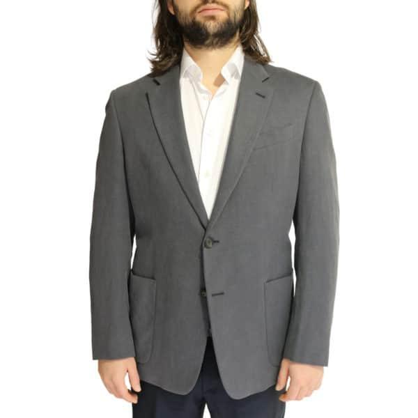 Emporio Armani linen blend jacket charcoal front