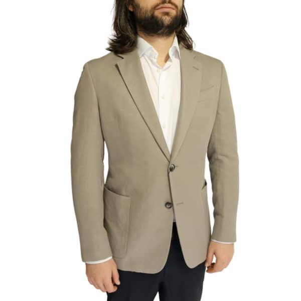 Emporio Armani linen blend jacket stone side