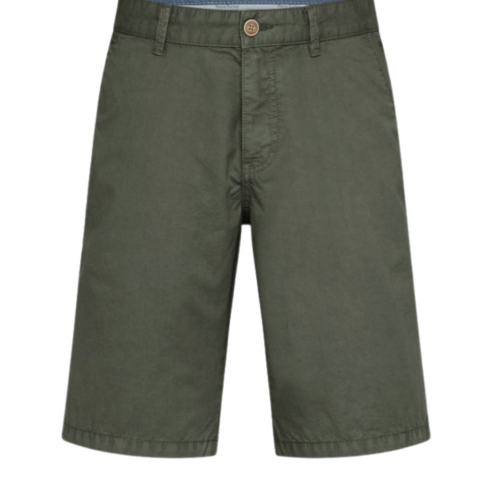 FYNCH HATTON Casual Fit Pure Cotton Shorts in Olive front