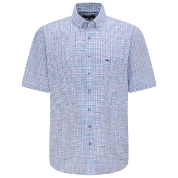Fynch Hatton Blue Malaga Check Short sleeve shirt