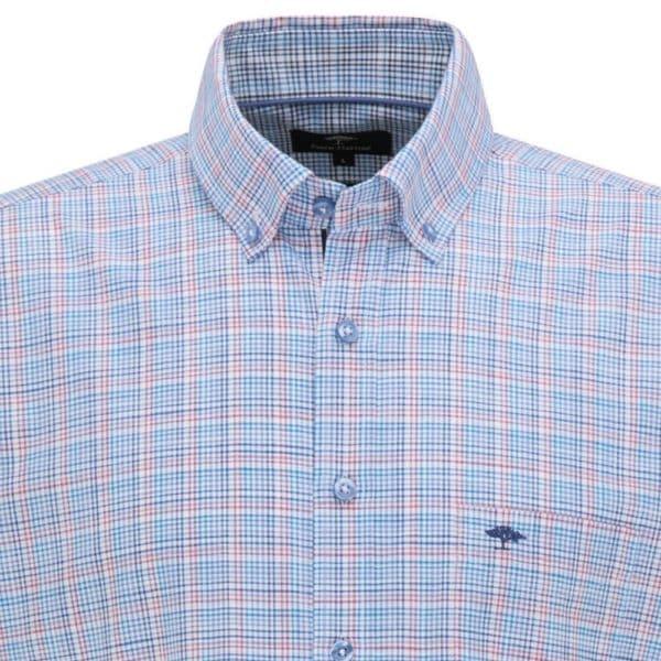 Fynch Hatton Blue Malaga Check Short sleeve shirt 1