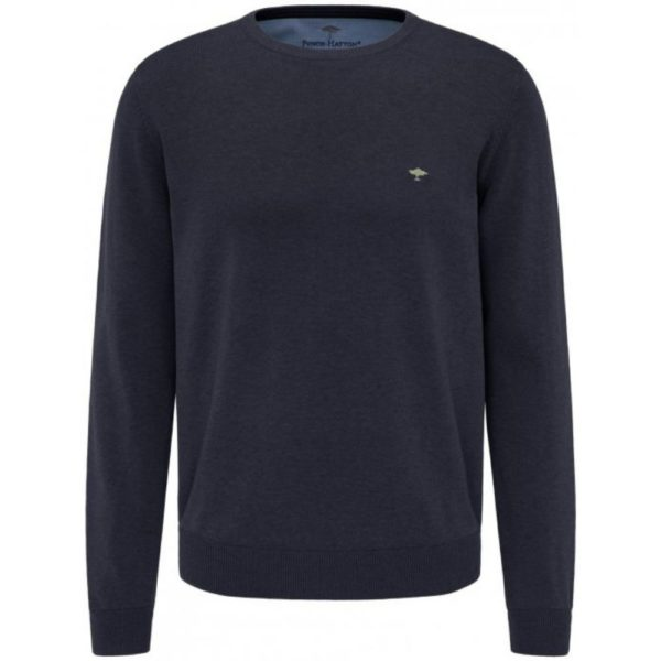 Fynch Hatton Casual Fit Crew Neck Sweater in Navy front