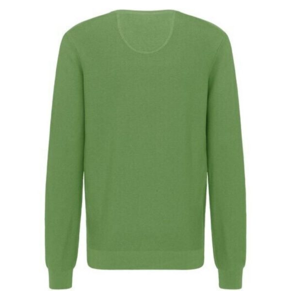 Fynch Hatton Casual Fit V Neck Sweater in Turquoise rear 1