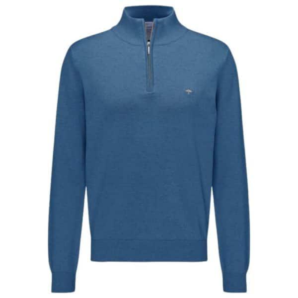 Fynch Hatton Cotton Half Zip Sweater in Azure Blue front