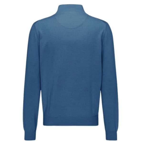 Fynch Hatton Cotton Half Zip Sweater in Azure Blue rear