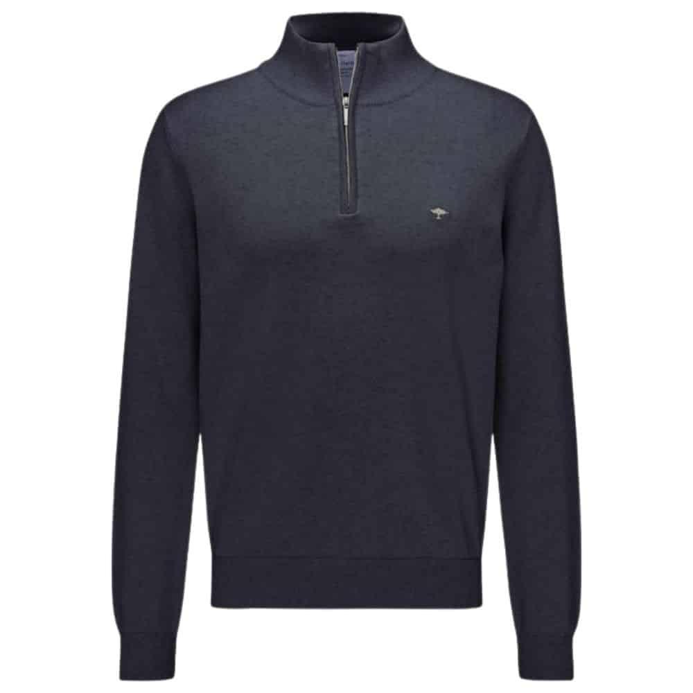 Fynch Hatton Cotton Half Zip Sweater in Navy front
