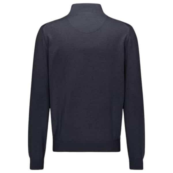 Fynch Hatton Cotton Half Zip Sweater in Navy rear