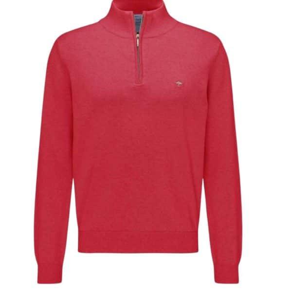 Fynch Hatton Cotton Half Zip Sweater in Red front