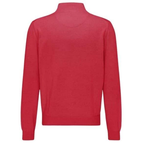 Fynch Hatton Cotton Half Zip Sweater in Red rear