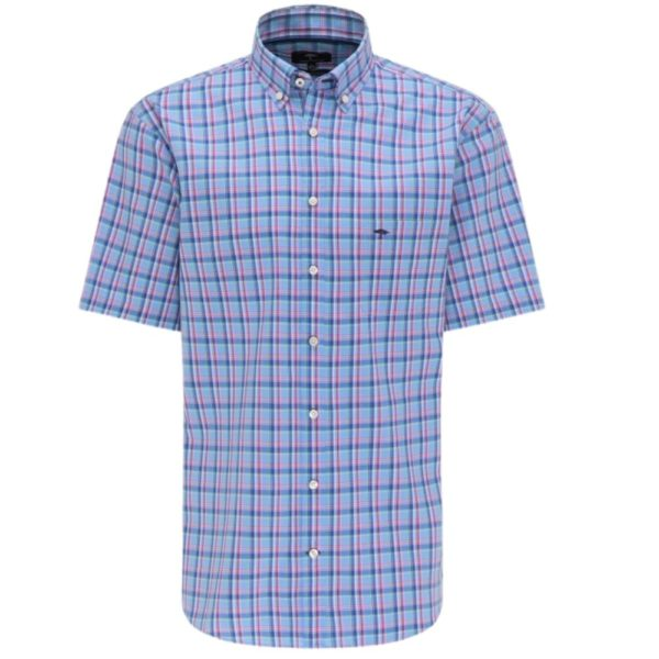 Fynch Hatton Pure Cotton Casual Fit Soda Blue Check Shirt front