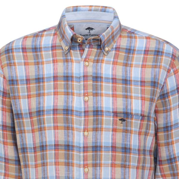 Fynch Hatton Red and Blue Linen Check shirt 1