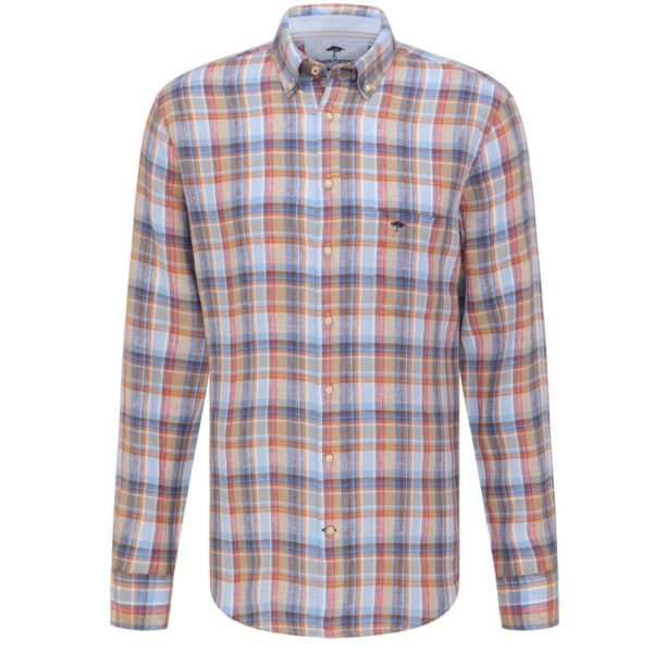 Fynch Hatton Red and Blue Linen Check shirt