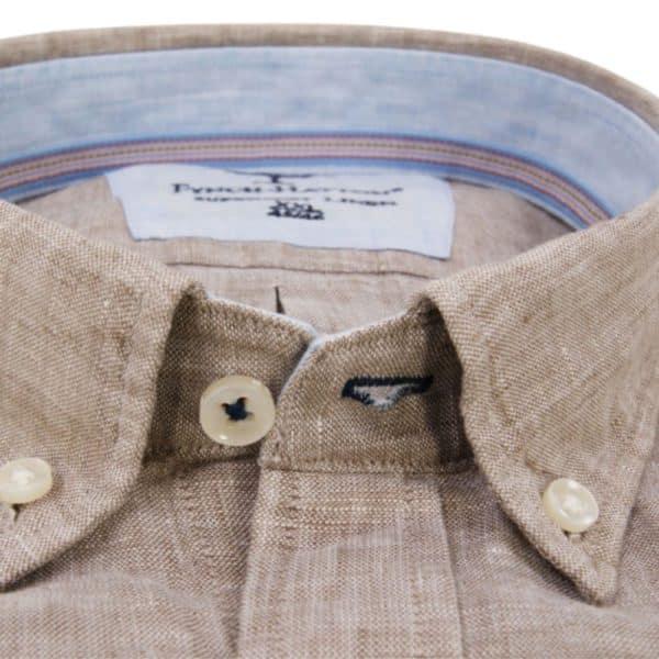 Fynch hatton Super soft linen shirt in Sand 4