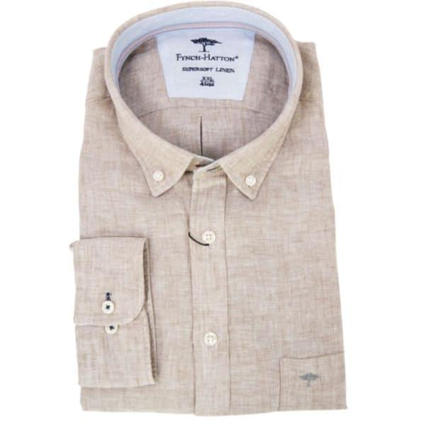 Fynch hatton Super soft linen shirt in Sand