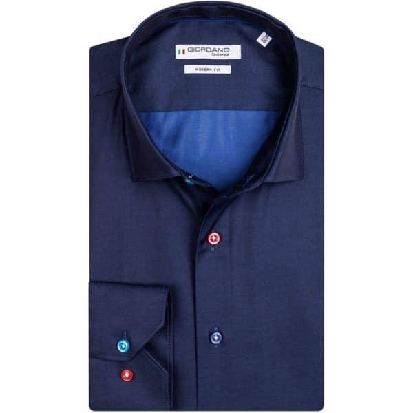 GIORDANO Navy fine twill multicolour button shirt