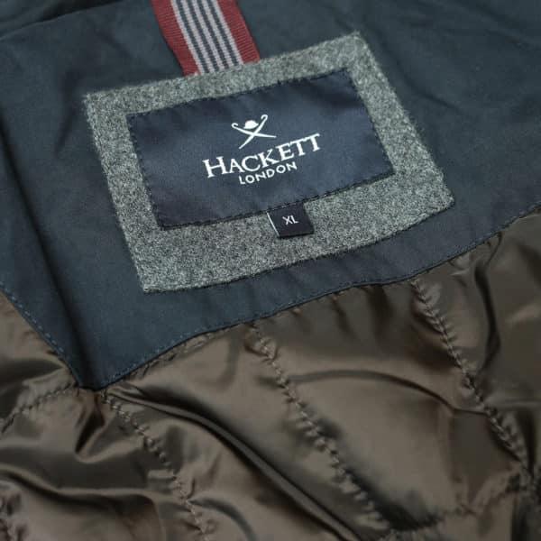 Hacket navy winter jacket lining logo
