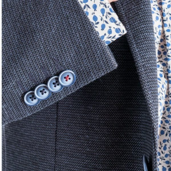 ROY ROBSON Jersey jacket with micro texture in blue Cuff