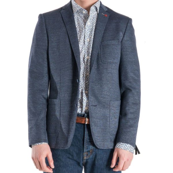 ROY ROBSON Jersey jacket with micro texture in blue Front