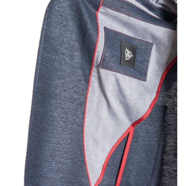 ROY ROBSON Jersey jacket with micro texture in blue Pocket