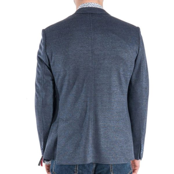 ROY ROBSON Jersey jacket with micro texture in blue Rear
