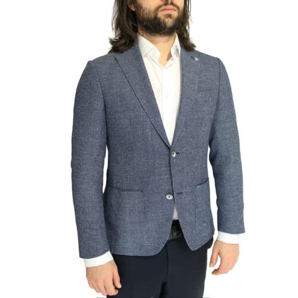 Roy Robson jacket micro pattern blue side