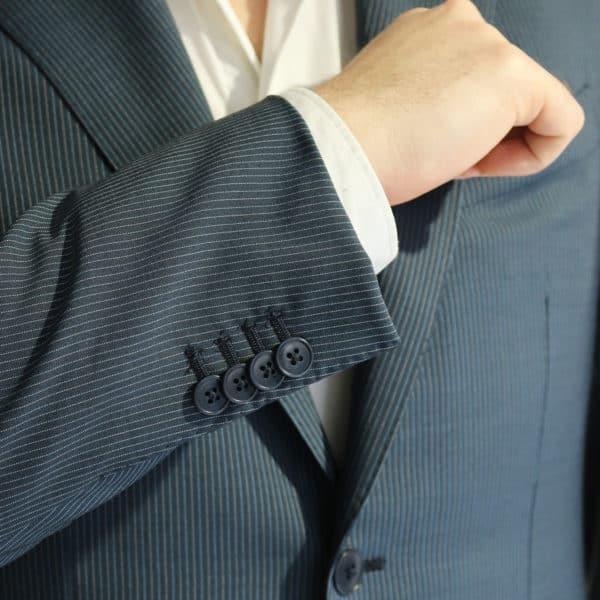 Vitale Barberis jacket stripe charcoal button detail
