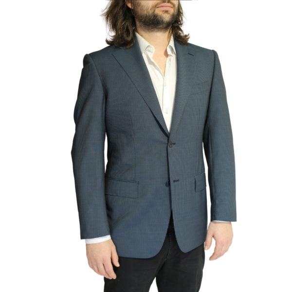 Vitale Barberis jacket stripe charcoal side