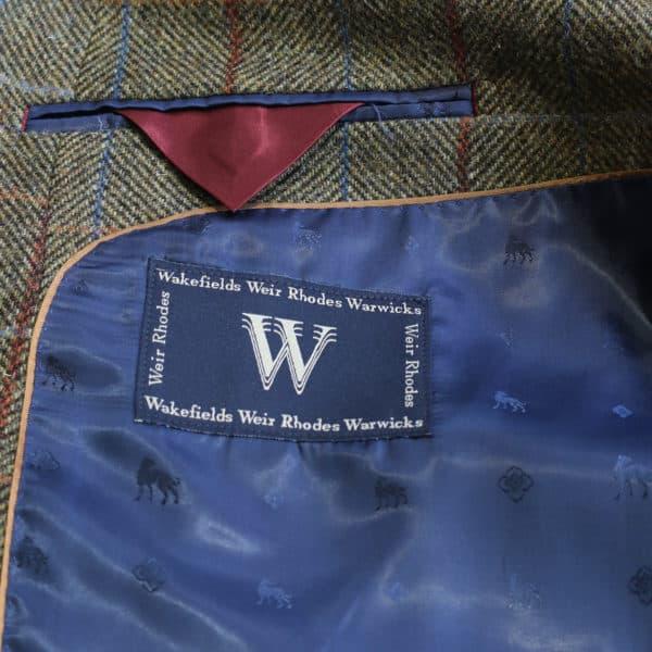 Warwicks herrinbone check jacket lining detail