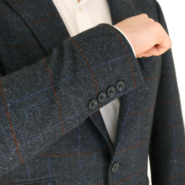 Warwicks navy windowpane jacket buttons