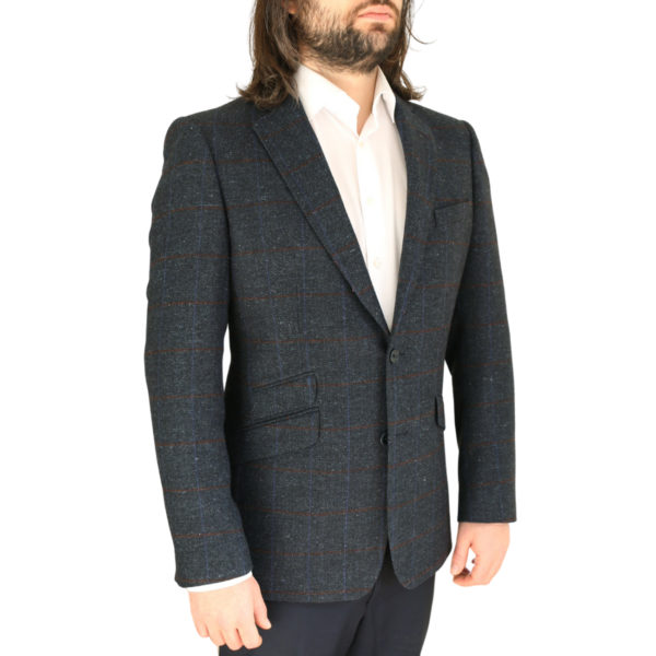 Warwicks navy windowpane jacket side