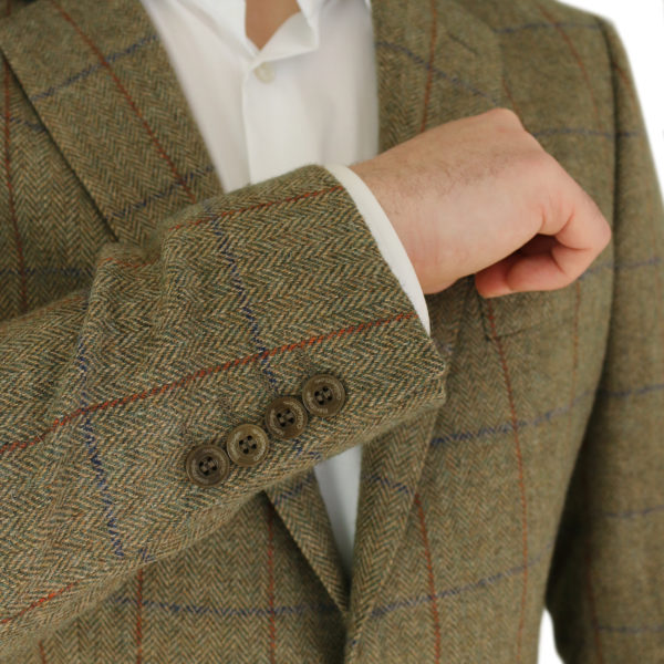 Warwicks tan windowpane jacket buttons