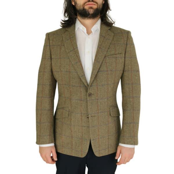Warwicks tan windowpane jacket front
