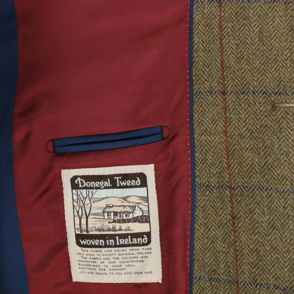 Warwicks tan windowpane jacket lining