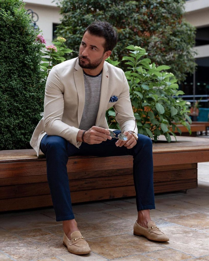 blazer and a tee for a sophisticated look