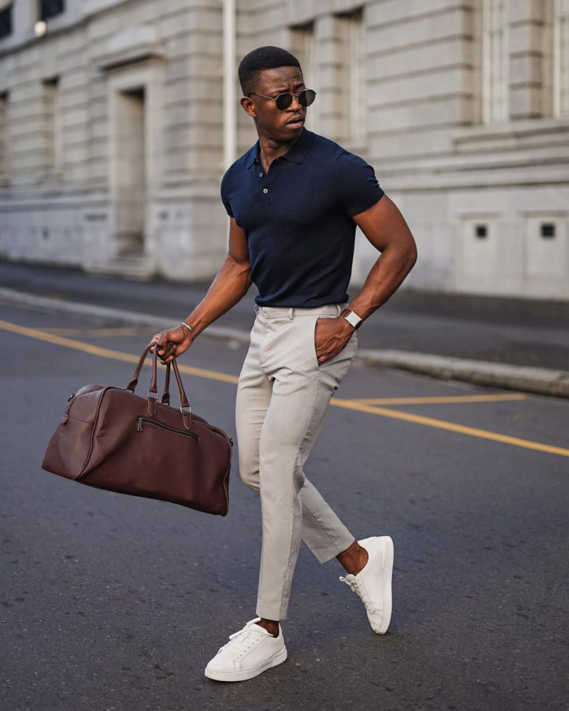 trainers and chino for a sophisticated look