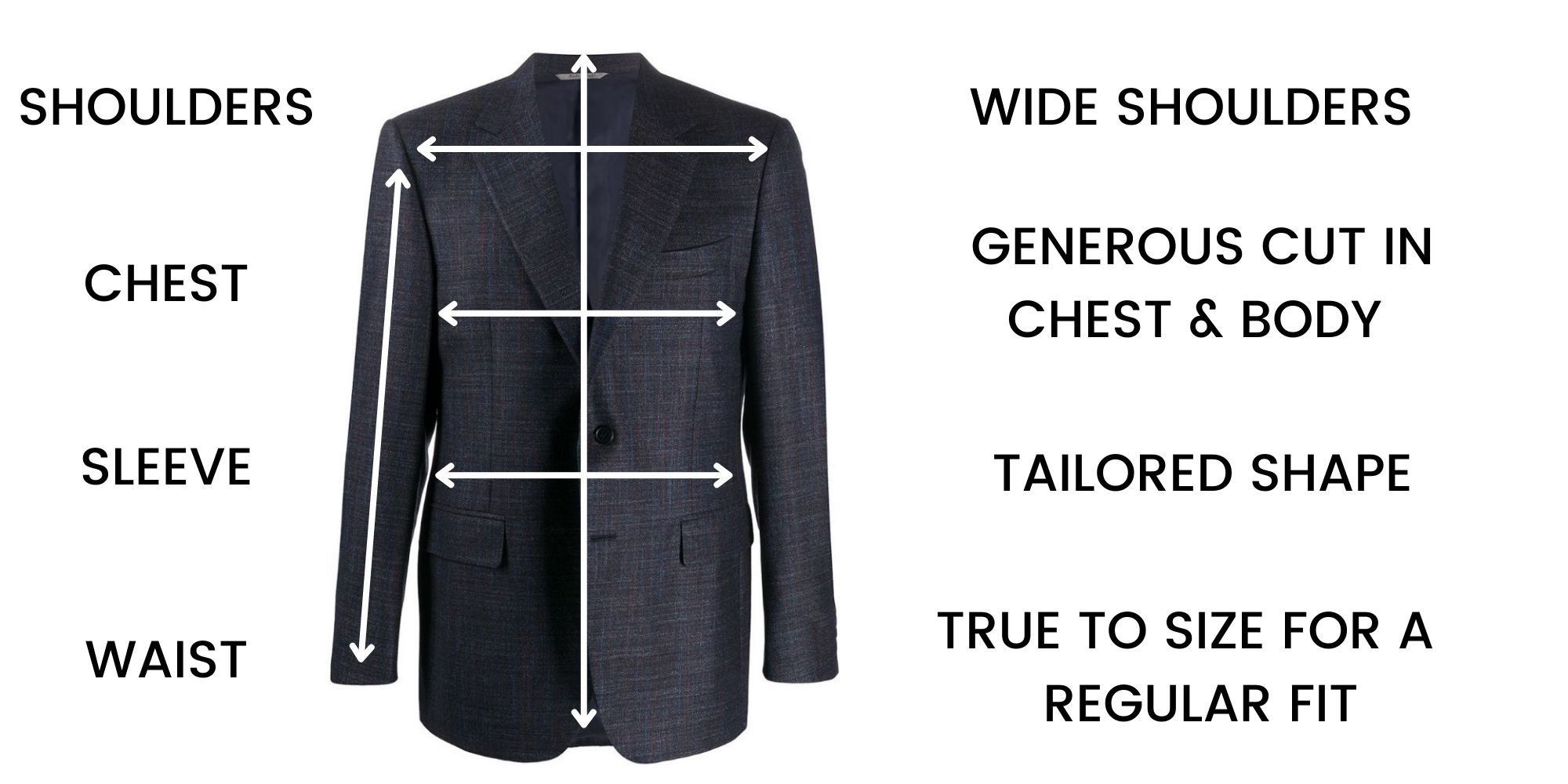 Canali Jackets Contemporary Fit - Size Chart