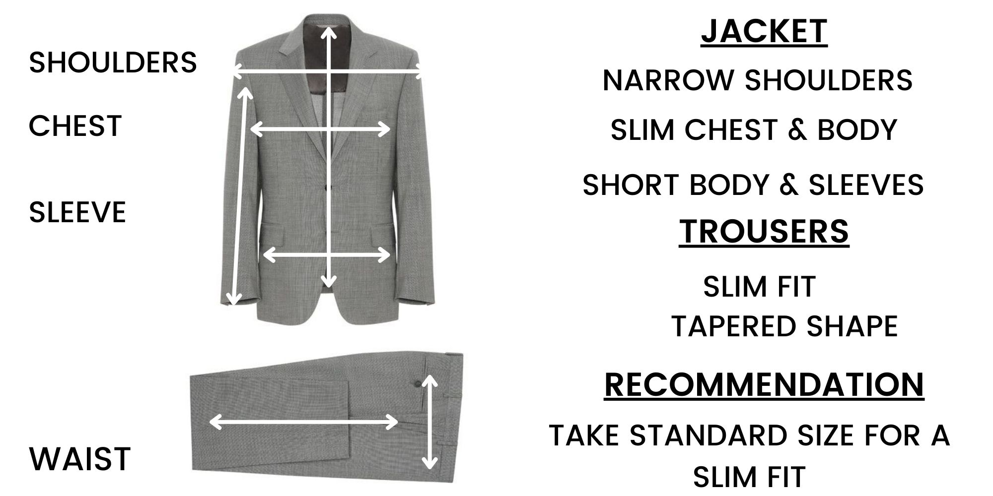 Canali Suit Size Guide – Slim fit